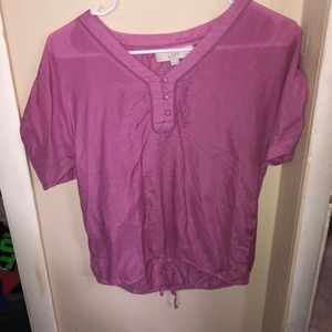 V neck short sleeve with buttons